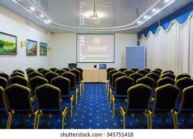 Chisinau, Moldova - November 23, 2015: Meeting Room. Modern office interior.Empty business meeting and conference room. November 23, 2015: in Chisinau, Moldova.