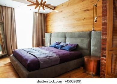 CHISINAU, MOLDOVA - OCTOBER 10, 2017 Modern apartment. Modern loft apartment interior. Luxury design apartment.Home.