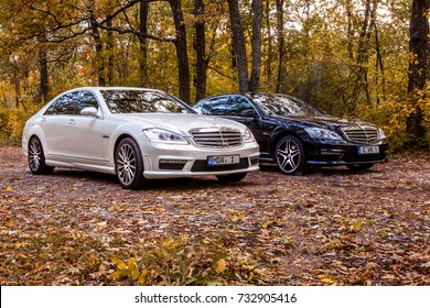 Chisinau, Moldova; October 11, 2017. Mercedes-Benz club festival in Moldova. Mercedes-Benz S Class W221, E Class W212. Editorial photo