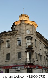 CHISINAU, MOLDOVA - OCTOBER 6, 2018: Art-deco architetcure at 130 Stefan cel Mare Boulevard in the building holding the famous Fat Frumos bookshop.