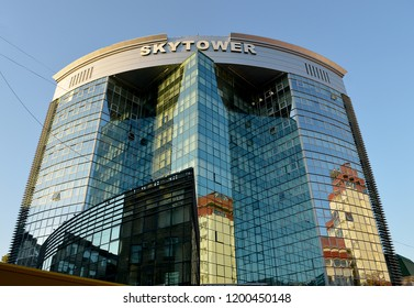 CHISINAU, MOLDOVA - OCTOBER 6, 2018: SKYTOWER Business Centre on Vlaicu Parcalab street is Moldova's first Class A office building and was completed in 2005.