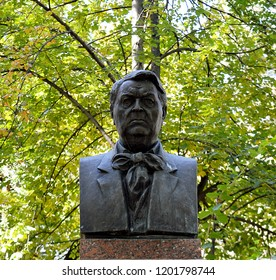 CHISINAU, MOLDOVA - OCTOBER 6, 2018: A bust of novelist, journalist and politician Mihail Sadoveanu, in the alley of sculptures of Romanian language literary heroes in Stefan cel Mare Central Park.