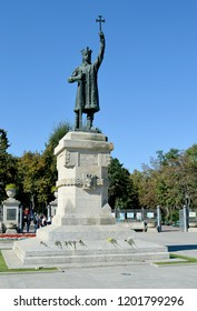 CHISINAU, MOLDOVA - OCTOBER 6, 2018: A statue of Stefan cel Mare (Stephen III of Moldavia) 1433-1504 stands at the entrance to the park bearing his name in the city centre.