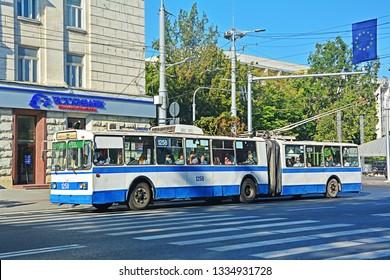 CHISINAU, MOLDOVA - SEPTEMBER 1, 2017 - Old articulated ZiU-10 trolleybus, operated by RTEC Chisinau, on Stefan cel Mare street