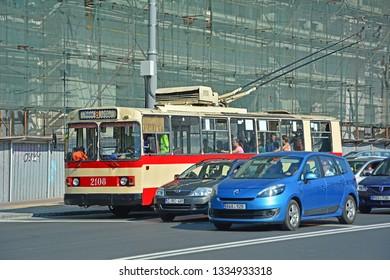 CHISINAU, MOLDOVA - SEPTEMBER 1, 2017 - An old ZiU-9 trolleybus, operated by RTEC Chisinau, on Stefan cel Mare street
