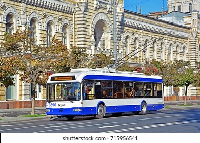 CHISINAU, MOLDOVA - SEPTEMBER 1 - Belkommunmash AKSM-32100D trolleybus on line 30 heading to the Chisinau Internationa Airport in the centre of Chisinau on September 1, 2017 in Chisinau, Moldova