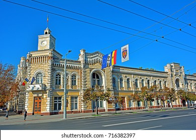 CHISINAU, MOLDOVA - SEPTEMBER 1 - Chisinau City Hall, built 1898-1901 in Italian Gothic style by architects Mitrofan Elladi and Alexandru Bernardazzi, on September 1, 2017 in Chisinau, Moldova