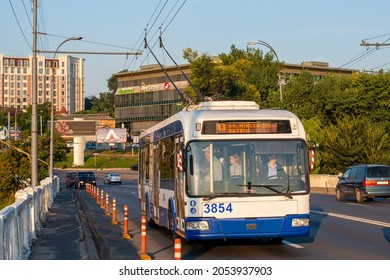 CHISINAU, MOLDOVA - September 13, 2021. Trolleybus BKM 321 #3854 riding with passengers in the streets of Chisinau.