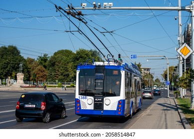 CHISINAU, MOLDOVA - September 13, 2021. Trolleybus BKM 321 #1388 riding with passengers in the streets of Chisinau.