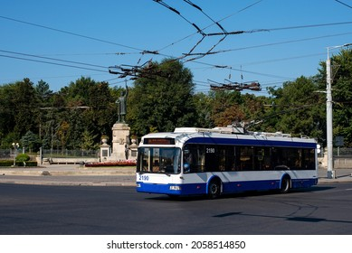 CHISINAU, MOLDOVA - September 13, 2021. Trolleybus BKM 321 #2190 riding with passengers in the streets of Chisinau.