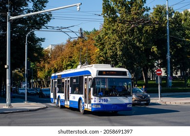 CHISINAU, MOLDOVA - September 13, 2021. Trolleybus BKM 321 #2159 riding with passengers in the streets of Chisinau.