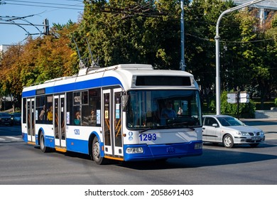 CHISINAU, MOLDOVA - September 13, 2021. Trolleybus BKM 321 #1293 riding with passengers in the streets of Chisinau.