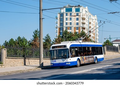 CHISINAU, MOLDOVA - September 13, 2021. Trolleybus BKM 321 #1296 riding with passengers in the streets of Chisinau.