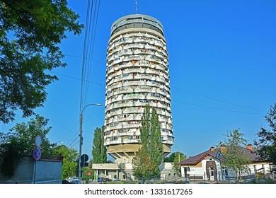 "CHISINAU, MOLDOVA - SEPTEMBER 2, 2017 - The ""Romanita"" Collective Housing Tower Building in Chisinau (Kishniev), Moldova (Moldavia)"