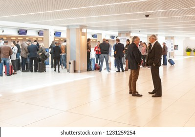 Chisinau, Moldova - September 27, 2016: Waiting area in  airport terminal Airport is a major international airport in Chisinau, Moldova