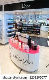 Chisinau, Moldova - September 27, 2016: duty free dior shops, .in a international airport in Chisinau, Moldova