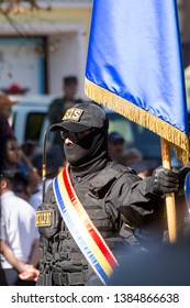 Chisinau, Rep. of Moldova - August 27, 2016: The Information and Security Service of the Republic of Moldova (SIS) marching through the main street of Chisinau, Moldova during the Independence Day