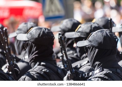 Chisinau, Rep. of Moldova - August 27, 2016: The Information and Security Service of the Republic of Moldova (SIS) marching through the main street of Chisinau, Moldova during the Independence Day par