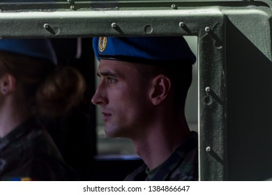 Chisinau, Rep. of Moldova - August 27, 2016: Military driving on the Stefan cel Mare si Sfant street during the Independence Day Parade in Chisinau, Moldova