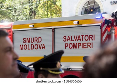 Chisinau, Rep. of Moldova - August 27, 2016: Moldavian branch of the SMURD (emergency rescue service based in Romania) driving through the streets in Chisinau, Moldova during Independence Day celebrat