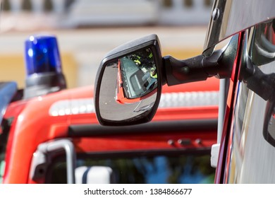 Chisinau, Rep. of Moldova - August 27, 2016: Firefighter trucks driving through the main street of Chisinau, Moldova during Independence Day celebrations