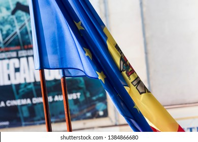 Chisinau, Rep. of Moldova - August 27, 2016: Moldavian and European Union flags waving side by side at the Independence Day celebrations in Chisinau, Moldova