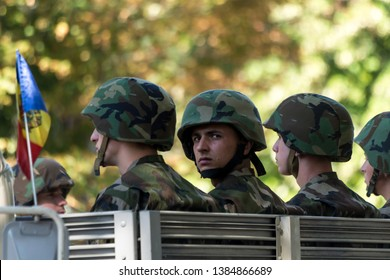 Chisinau, Rep. of Moldova - August 27, 2016: Military parading on the main street of Chisinau, Moldova during Independence Day celebrations