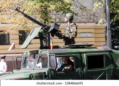 Chisinau, Rep. of Moldova - August 27, 2016: Military marching on the Stefan cel Mare si Sfant street during the Independence Day Parade in Chisinau, Moldova