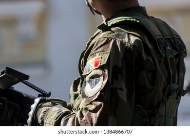 Chisinau, Rep. of Moldova - August 27, 2016: Military uniform of the Moldavian Army during the Independence Day Parade in Chisinau, Moldova