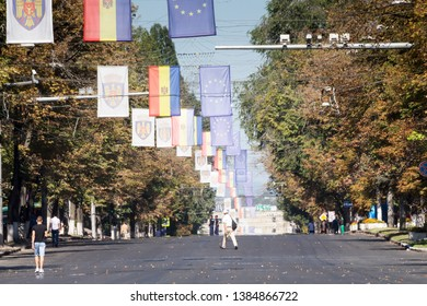 Chisinau, Rep. of Moldova - August 27, 2016: Main street of Chisinau, Moldova closed for the Independence Day parade