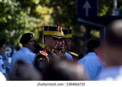 Chisinau, Rep. of Moldova - August 27, 2016: Romanian honor guard marching on Stefan cel Mare si Sfant street during Independence Day celebrations parade in Chisinau, Moldova