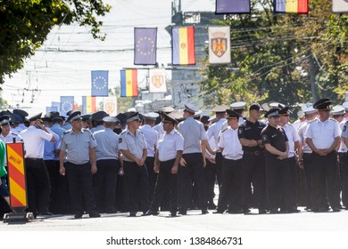 Chisinau, Rep. of Moldova - August 27, 2016: Moldavian police parading on the streets in Chisinau, Moldova during Independence Day celebrations