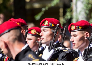 Chisinau, Rep. of Moldova - August 27, 2016: Military marching through Stefan cel Mare si Sfant street during the Independence Day parade in Chisinau, Moldova