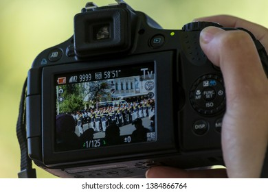 Chisinau, Rep. of Moldova - August 27, 2016: Person focusing camera at the Independence Day parade in Chisinau, Moldova