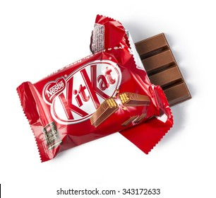 CHISINAU,MOLDOVA - NOVEMBER 14, 2015: Opened Kit Kat chocolate bar. Kit Kat is a chocolate biscuit bar confection that is manufactured by Nestle ISOLATED ON WHITE WITH CLIPPING PATH