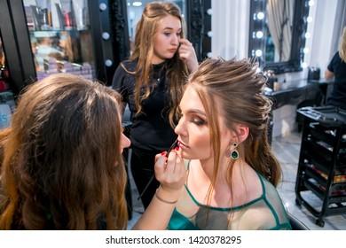 Chisinau,Repablic of Moldova-15th of March.Beauty salon -Victorya.Process of making makeup. Make-up artist.