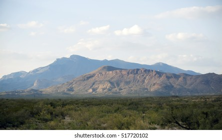 The Chisos Mountains rising high above the Chihuahuan Desert in the Big Bend National Park in Texas.