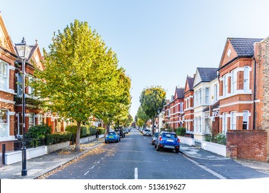 Chiswick suburb street in autumn, London, England