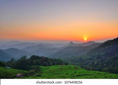 Chithirapuram view point during sunset in munnar.