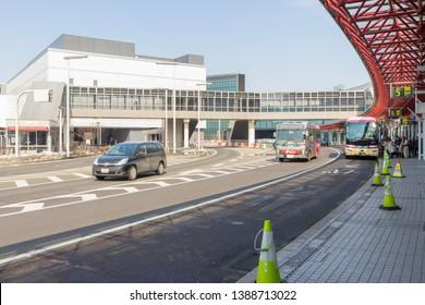 Chitose, Hokkaido, Japan - Mar 3, 2019 : Bus stop at the New Chitose (Shin Chitose) Airport in winter in Hokkaido, Japan on Mar 3, 2019.