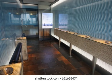 Chitose Japan - June 1 2017 - Smoking area at New Chitose international airport. It is biggest airport in Hokkaido area Japan