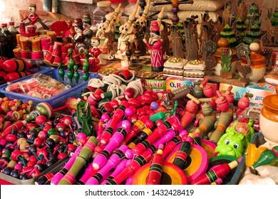 Chitrakoot, Madhya Pradesh, India - January 8, 2017 : Indian wooden toys shop, Chitrakoot, Madhya Pradesh, India.