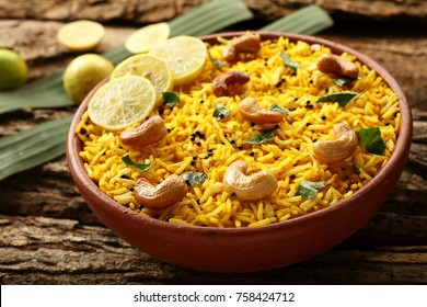 Chitranna or Indian lemon rice from South Indian cuisine.