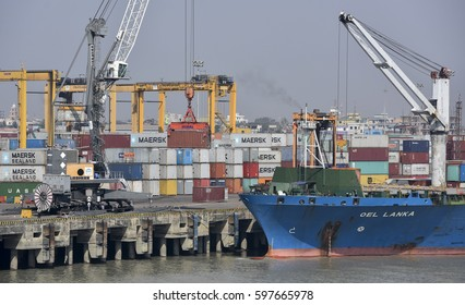 Chittagong, Bangladesh, 11 March 2017 : Container Ship at the Chittagong Port.