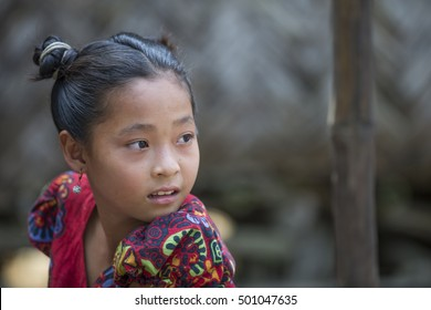 Chittagong, Bangladesh, February 25th, 2016: young bangladeshi girl in rural area of the country