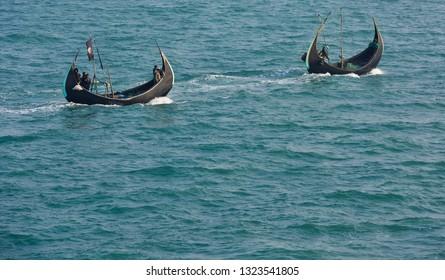 Chittagong, Bangladesh - January 25, 2019 : The Sampan Boats, a traditional fishing boat in Bangladesh.