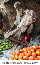 Chittagong, Chittagong/Bangladesh - Apr 27 2018: Street vegetable seller on the street of Chittagong