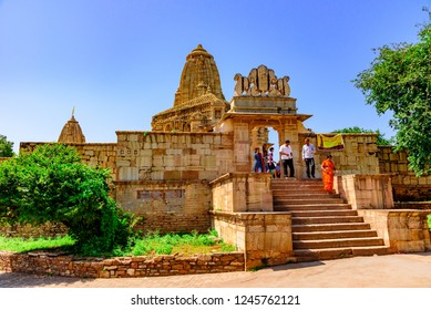 Chittorgarh, India-October 2018: Meera Temple built it in an ornate Indo–Aryan architectural style associated with the mystic saint-poet Mirabai who was an ardent devotee of Lord Krishna