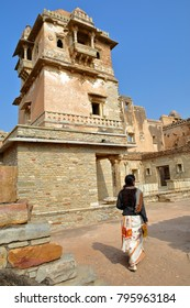 CHITTORGARH, RAJASTHAN, INDIA - DECEMBER 14, 2017: Rana Kumbha Palace located inside the fort (Garh) of Chittorgarh, with details of the balconies