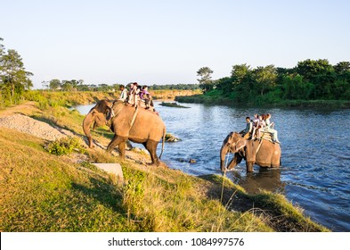 Chitwan / Nepal - October 26, 2016: Tourists doing elephant trekking through jungle in Chitwan national park, Nepal. Jungle safari walk on elephant back.